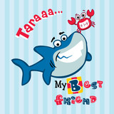 my best friend. cute shark and little crab vector cartoon