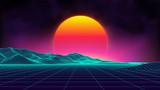 Retro background futuristic landscape 1980s style. Digital retro landscape cyber surface. Retro music album cover template : sun, space, mountains . 80s Retro Sci-Fi Background Summer Landscape. - 163393053