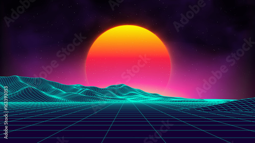 Retro background futuristic landscape 1980s style. Digital retro landscape cyber surface. Retro music album cover template : sun, space, mountains . 80s Retro Sci-Fi Background Summer Landscape. - 163393053
