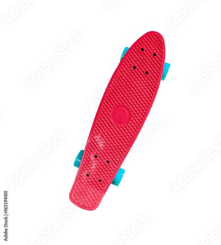 Fotobehang Skateboard Single red skateboard isolated on white background