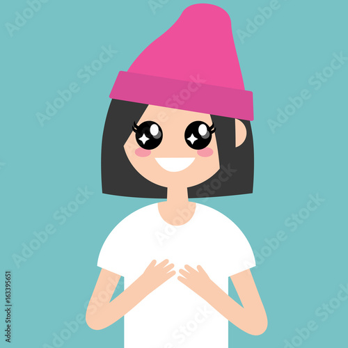 Portrait of young female character with big anime eyes / flat editable vector illustration, clip art - 163395651