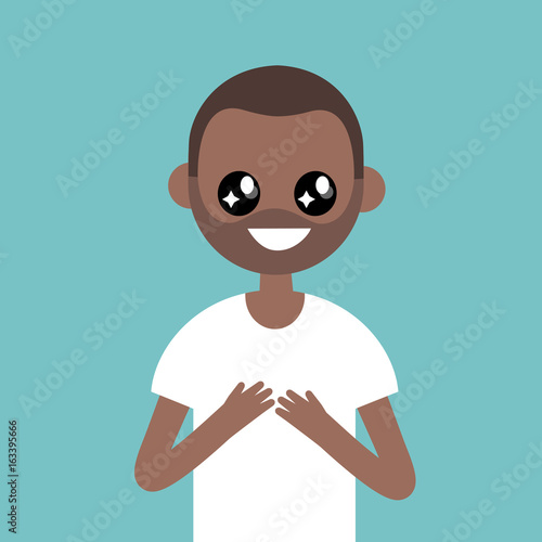 Portrait of young black character with big anime eyes / flat editable vector illustration, clip art - 163395666