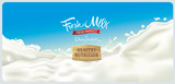 Design elements of dairy products - splash of milk, with a set of inscription. - 163401683