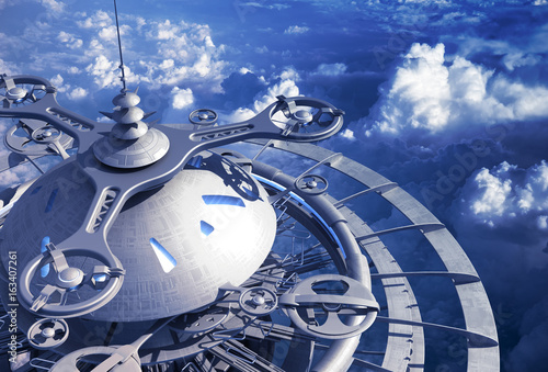 Foto op Canvas Futuristic Flying Station Above The Clouds