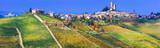 Serralunga d'alba village in Piemonte with vast vineyards. North of Italy - 163408246