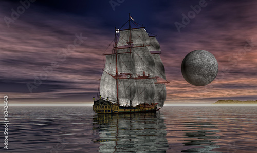 Old sailing ship under the moon with british flag 3D illustration