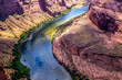 Swift Colorado River at the bottom of Grand Canyon, Arizona, USA. Canyon  Horseshoe Bend
