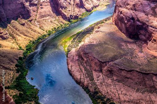 Swift Colorado River at the bottom of Grand Canyon, Arizona, USA. Canyon Horseshoe Bend