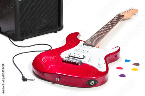 Plakát Electric guitar and amplifier isolated on a white