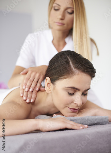 Resting woman during the massage