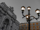 Black and color photo with Trevi Fountain in Rome, Italy - 163439645