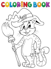 Coloring book Halloween cat theme 3