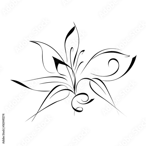 ornament 53. stylized flower in black lines on a white background