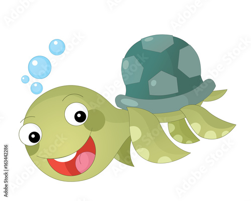 Fotobehang Zoo Cartoon happy and funny sea turtle swimming - illustration for children