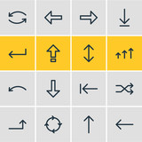 Vector Illustration Of 16 Arrows Icons. Editable Pack Of Shrift, Turn, Exchange And Other Elements. - 163442891