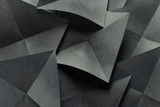 Geometric shapes of paper, grey background - 163447285