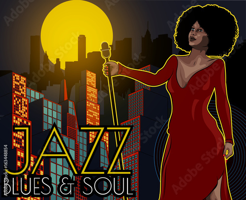Naklejka Vintage poster with cityscape , retro woman singer and moon. Red dress on woman. Retro microphone. Jazz, soul and blues live music concert poster.