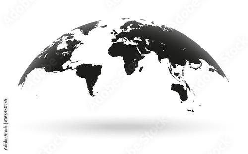 Black world map globe isolated on white background