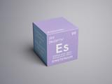Einsteinium. Actinoids. Chemical Element of Mendeleev's Periodic Table. Einsteinium in square cube creative concept.
