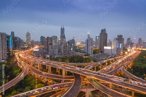 Shanghai elevated road at dusk Poster