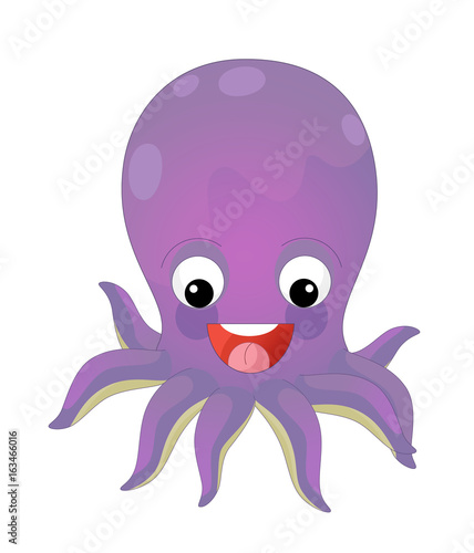 Fotobehang Zoo Cartoon happy and funny sea octopus swimming and looking - illustration for children