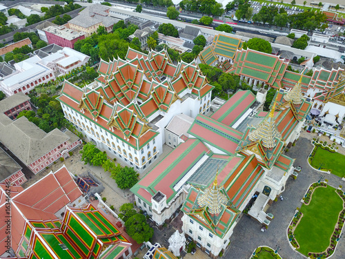 Aerial view from the drone on the Grand Royal Palace,Bangkok,Thailand