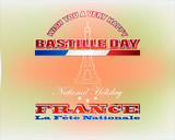 Holiday design, background with 3d texts, Eiffel tower shape and national colors for fourteenth of July, France National holiday, celebration