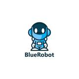 Blue Robot Logo Template Design Wall Sticker