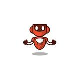 Red Robot Logo Template Design Wall Sticker