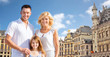 happy family over grand place in brussels city - 163476474