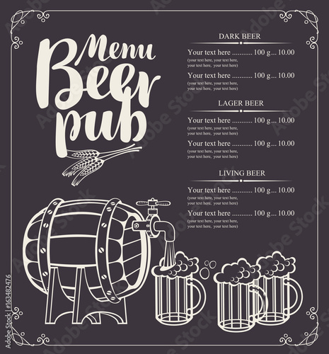 Vector menu for beer pub with barrel and full beer glasses in retro style. Drawing chalk on a wooden board with inscription and price list.