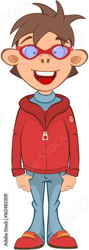 Illustration of a Cute Boy. Cartoon Character