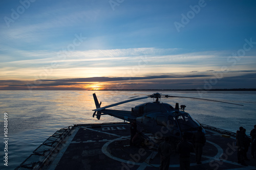 Helicopter on flight deck