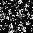 Seamless pattern with white rose silhouette on black background. Floral wallpaper
