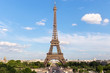 View of the famous Eiffel Tower from Place de Trocadero in Paris. France.