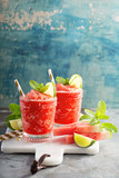 Watermelon slushie cocktail with lime