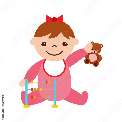 cute girl baby with toys avatar character vector illustration design