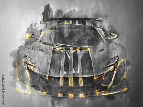 Super sports car - black and white grunge illustration