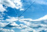 Cracked Glass Window Blue Sky - 163514633