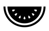 Watermelon fruit slice or cross section with seeds flat vector icon for apps and websites