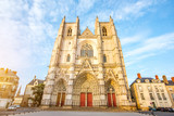 Sunset view on the saint Pierre cathedral in Nantes city in France