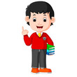 kids boy carrying book cartoon - 163539445