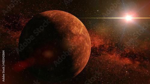 planet Mercury, the stars and the Sun © dottedyeti