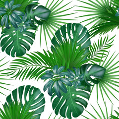 Seamless hand drawn realistic botanical exotic vector pattern with green palm leaves isolated on white background.
