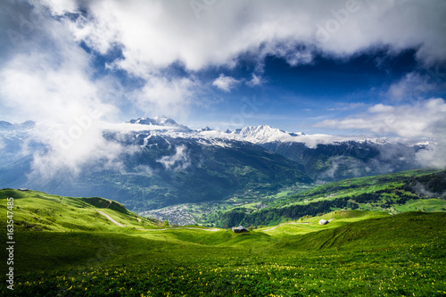 Magnificent view of the Tarentaise valley in the French Alps, above Bourg Saint- Tableau sur Toile