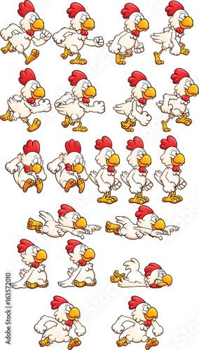 Running cartoon chicken