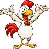 Happy cartoon chicken. Vector clip art illustration with simple gradients. All in a single layer.
