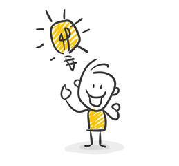 Strichfiguren / Strichmännchen: Idee, Glühbirne. (Nr. 8)