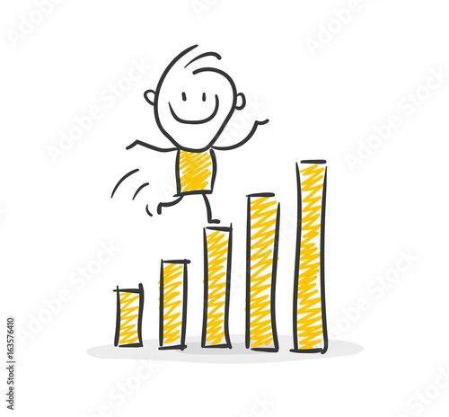 Strichfiguren / Strichmännchen: Geschäftserfolg, Karriere. (Nr. 9)