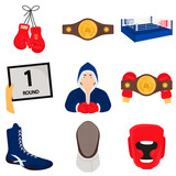 Fight sports color flat icons set for web and mobile design
